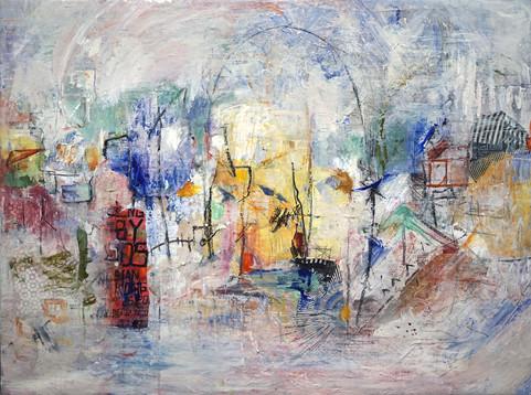 "Brooklyn, 30 x 40"", mixed media on canvas"