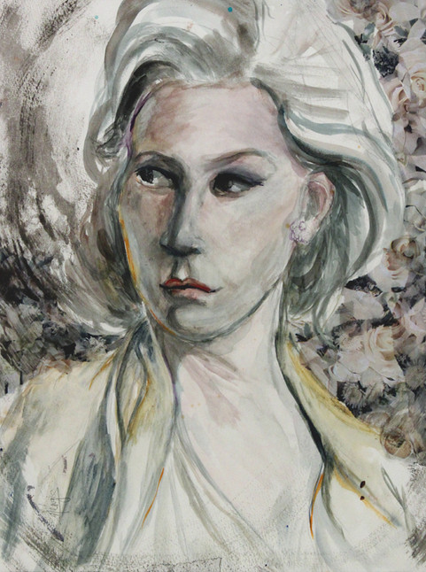 """Leena, 19 x14"""", watercolor paper mounted on panel (coated with resin)"""