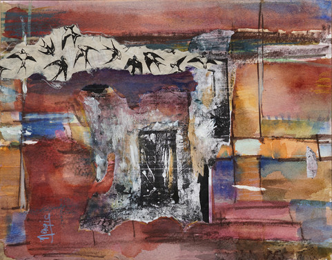 "Hidden Spaces 11 x14"", watercolor & collage"