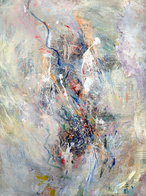 """The River, 64 x 48"""", mixed media on panel"""