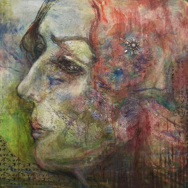 Women & Birds #1 mixed media on canvas