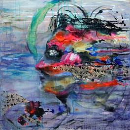 """Birds & Women #9, 30 x 30"""", mixed media on canvas"""