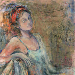 "Valerie, 46 x 36"", acrylic and mixed media on canvas"
