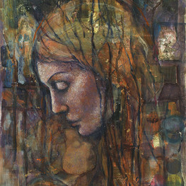 """Reflections from Mother, 36 x 18"""" mixed media on canvas"""
