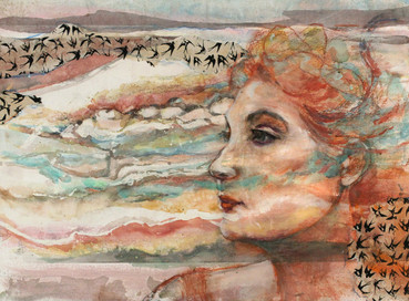 """Women Scapes I, 22 x 30"""", mixed media on paper mounted on panel"""