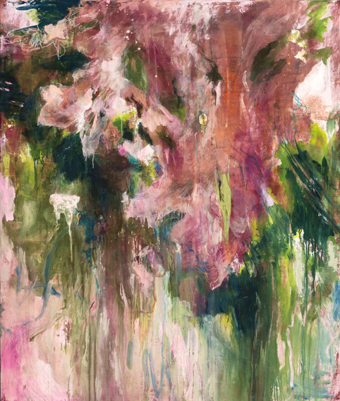 """In My Garden #1 Pink Bloom, 64 x 54"""", mixed media on canvas"""