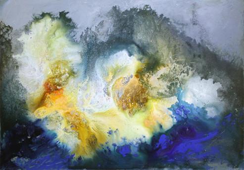 Cosmic Flower, 36 x 50, (acrylic & mixed