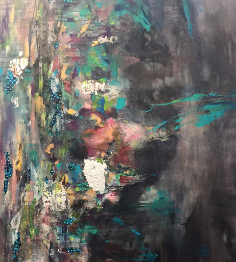 """The Colors of Black, 72 x 50"""", mixed media on canvas"""