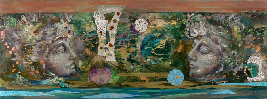 """Buddha #2, 18 x 47"""", mixed media, semi precious stones & acrylic"""