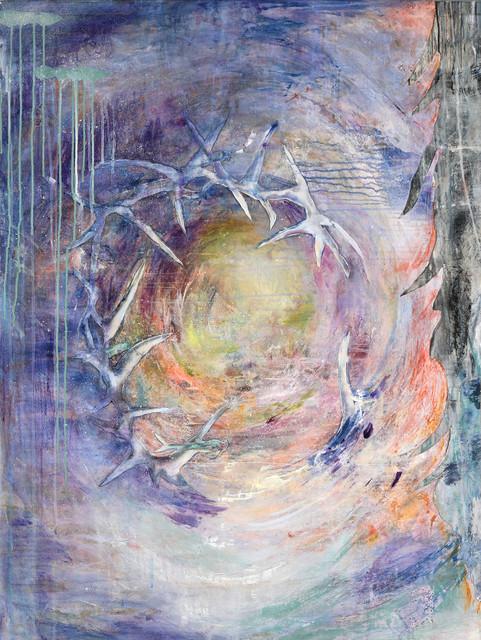 "Flying, 45 x 34"", acrylic & mixed media on canvas"