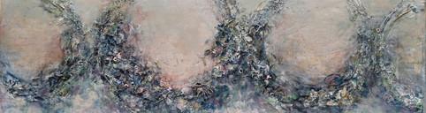 "Wreaths #1, 26 x 76"", mixed media on panel"
