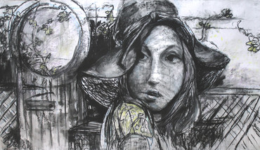 "Girl with the Hat, 88 x 51"", charcoal"