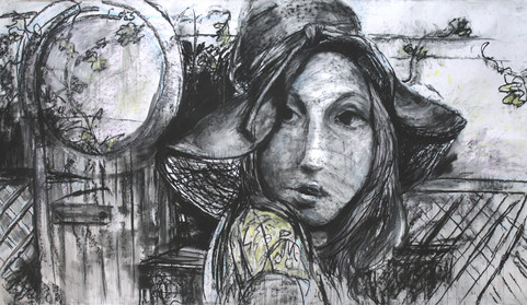 """Girl with the Hat, 88 x 51"""", charcoal"""