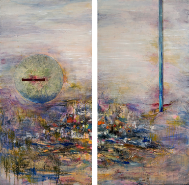 "Hidden Hamlet #1 & 2 (diptych), 60 x 30"", mixed media on panel"