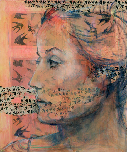 "Women & Birds #2, 36 x 30"", mixed media, acrylic on canvas"