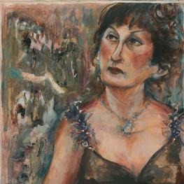 """Natashia, 30 x23"""", acrylic & mixed media on paper"""