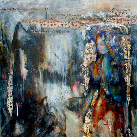 """Birds & Women #1, 65 x 45"""", mixed media on canvas"""