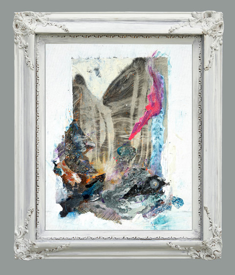 """Jeweled Series """"Mountains & Seascapes"""" #1, 26 x 22"""", (framed)  mixed media on canvas, with carved wooden frame with antique white matte finish"""