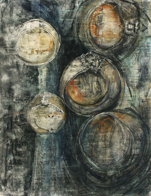 """Bracelets in Time, 48 x 38"""" mixed media on paper"""