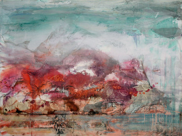 "Red Hills, 36 x 48"" mixed media on canvas"