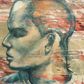 """New Age, 30 x 35"""", acrylic & mixed media on canvas"""
