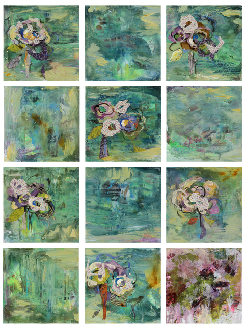 "Petit Jardin, 12 - 12 x 12"", mixed media on panel"