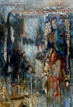 """Birds Godess, 65 x 45"""", mixed media on canvas"""