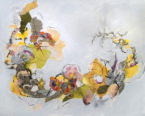 "Messengers, 48 x 60"", mixed media on canvas"
