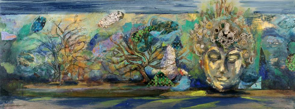 """Buddha #1, 18 x 47"""", mixed media, semi precious stones & acrylic"""