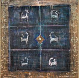 "Spirit of the Anasazi, 53 x 48"", mixed media on panel"