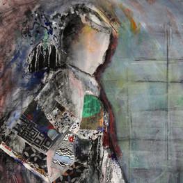 "Geisha #1, 42 x24"", acrylic & mixed media on canvas mounted on panel"