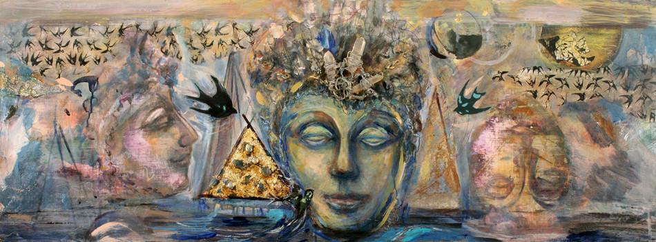 """Buddha #3, 18 x 47"""", mixed media, semi precious stones & acrylic"""