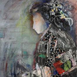 "Geisha #2, 42 x24"", acrylic & mixed media on canvas mounted on panel"