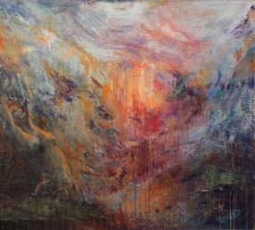"""Sea Goddess, 58 x 65"""", mixed media & acrylic on panel"""