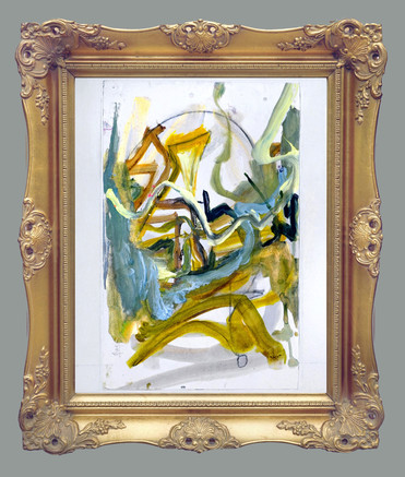 "Triumphant #2, 26 x 22"", (framed) , mixed media on canvas, with carved wooden frame with antique gold matte finish"