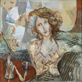 "Cafe Window, 37 x38"", acrylic & mixed media on canvas"