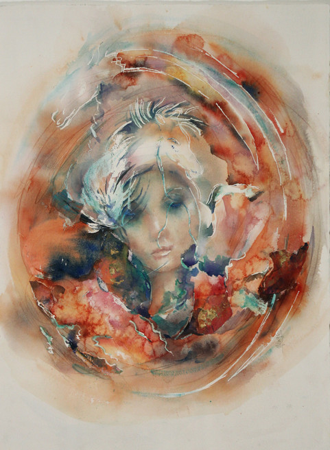 """Day Dreamer 3, 35 x 27"""" watercolor on Arches paper (framed)"""