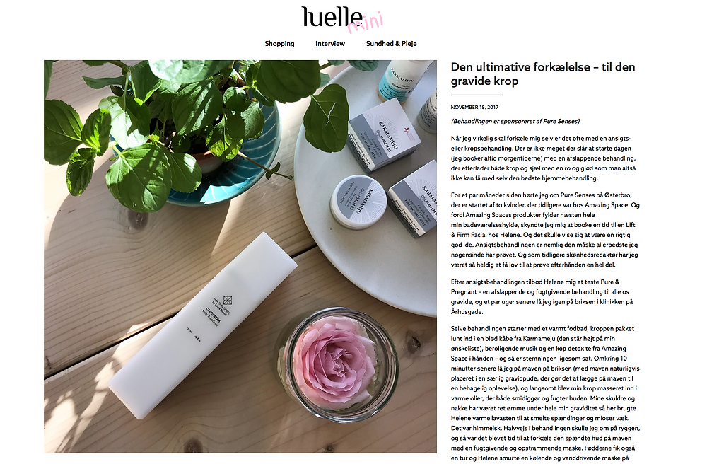 """Bloggeren Marie Hindkær Wolthers har prøvet vores behandling til den gravide krop. Hun skriver bl.a """"det er netop kombinationen af klassiske behandlinger og zoneterapi, der gør Pure Senses til et ret unikt sted, som jeg virkelig kan anbefale"""""""