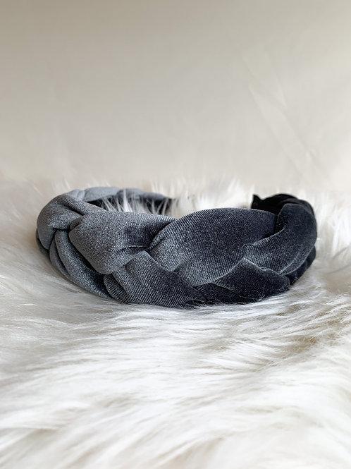 Blauw grijze velvet haarband