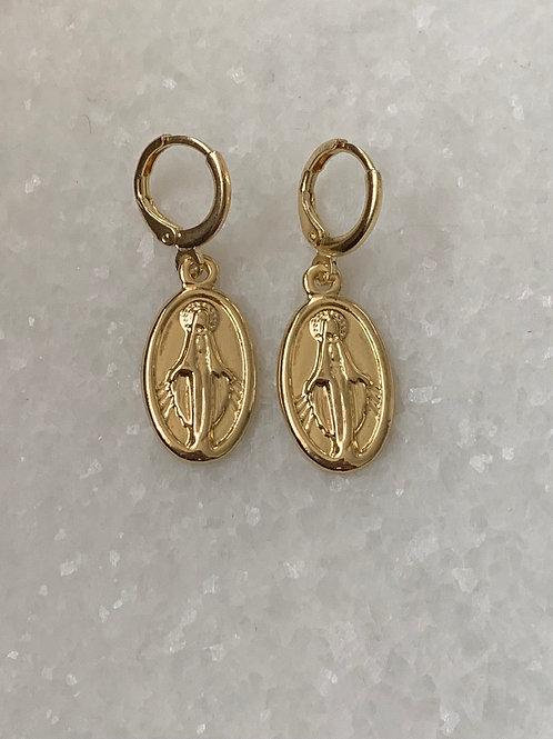 Ave Maria oorbellen goud