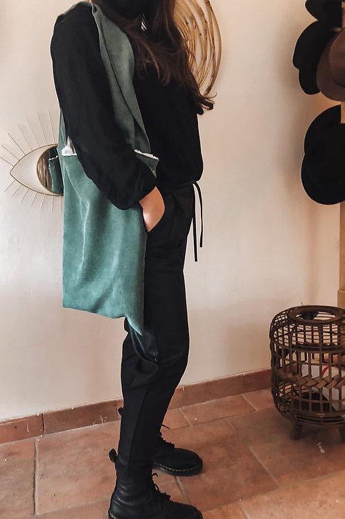 Green bag furry inside
