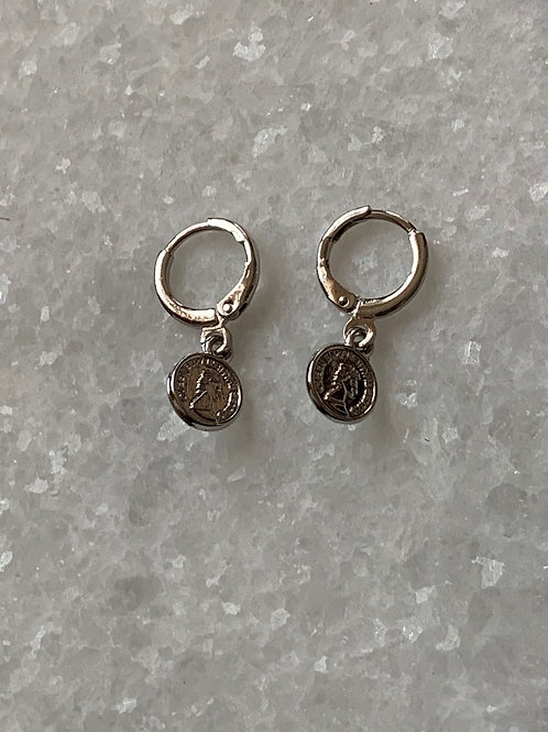 Zilveren coin oorbelletjes