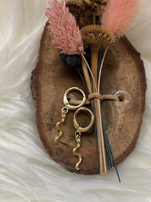 Gouden snake oorbellen