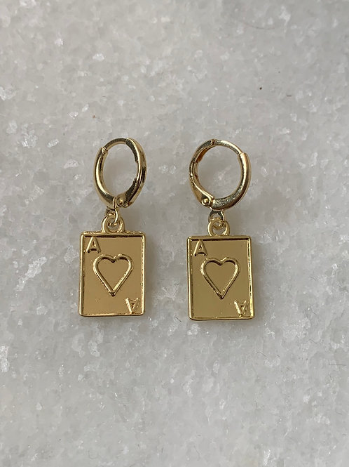 Pair of aces gouden oorbellen