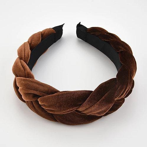Bruine velvet haarband