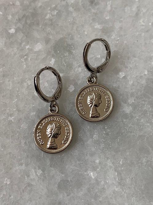 Zilveren big coin oorbellen