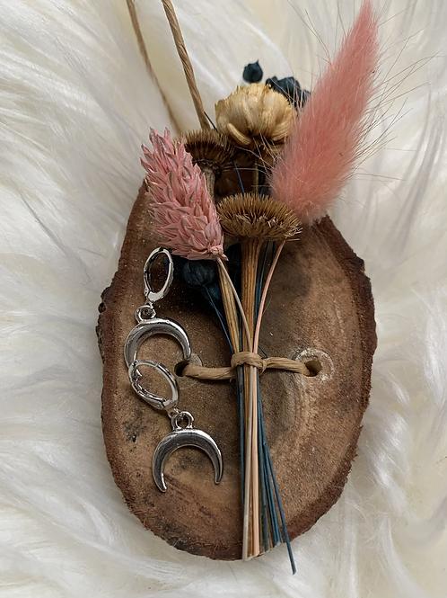 Zilveren hoorn oorbellen
