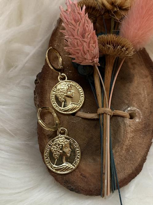 Gouden coin xl oorbellen