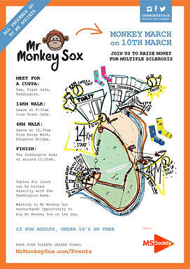 Mr Monkey Sox's Monkey March aid of Multiple Sclerosis Society