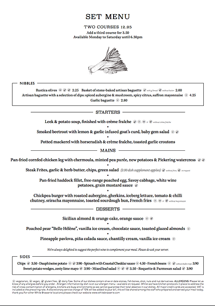 Kings Head menu